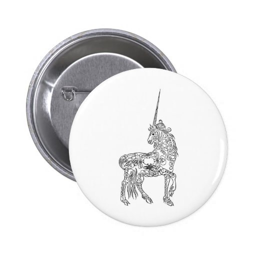 Antique Pen Flourish Calligraphy Unicorn Button