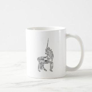 Antique Pen Flourish Calligraphy Unicorn Classic White Coffee Mug