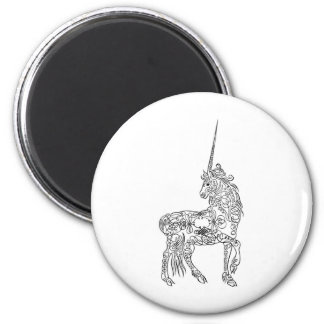Antique Pen Flourish Calligraphy Unicorn 2 Inch Round Magnet