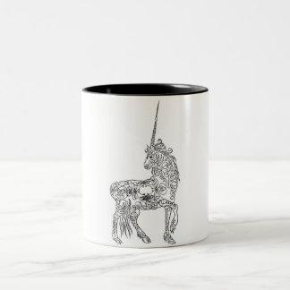 Antique Pen Flourish Calligraphy Unicorn Two-Tone Coffee Mug