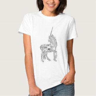 Antique Pen Flourish Calligraphy Unicorn T-shirts