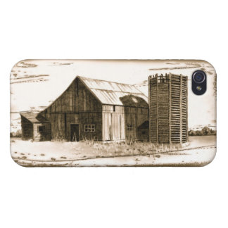 Antique Pencil Drawing of Old Barn and Silo iPhone 4/4S Cases