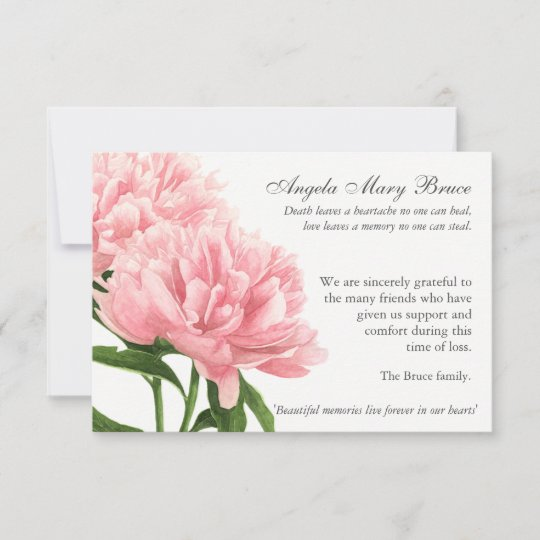 Antique Peonies Funeral Sympathy Thank You Card Zazzle Com