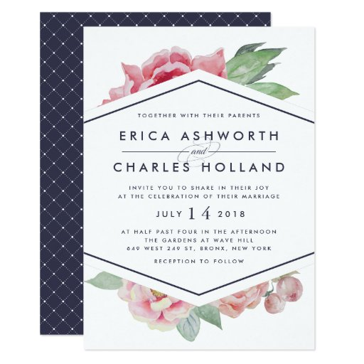 Antique Peony Blush and Navy Wedding Invitation