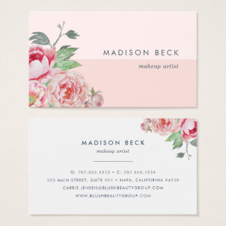 Antique Peony | Blush Pink Colorblock Business Card