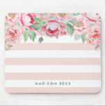 "Antique Peony &amp; Blush Pink Stripe Mouse Pad<br><div class=""desc"">Modern peony floral mousepad features chic pastel blush pink stripes with a bouquet of blush and sage watercolor peonies blooming from the top. Personalize with a name,  monogram or message using the field provided.</div>"