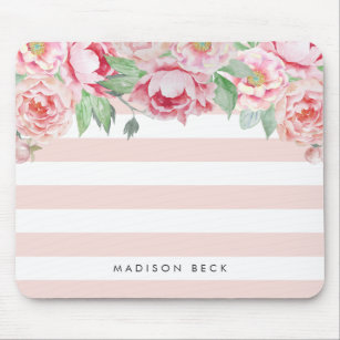 Antique Peony & Blush Pink Stripe Mouse Pad