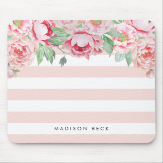 Antique Peony & Blush Pink Stripe Mouse Pad
