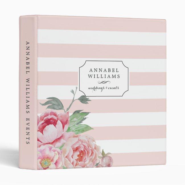 Antique Peony | Blush Pink Stripe Personalized Binder