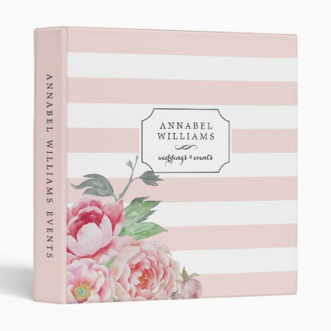 Antique Peony | Blush Pink Stripe Personalized Binder