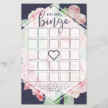 """Antique Peony Bridal Shower Bingo Game<br><div class=""""desc"""">Designed to match our Antique Peony bridal shower invitations,  these elegant floral bridal bingo cards feature a midnight blue background,  blank bingo squares and game instructions.</div>"""