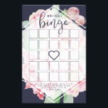 """Antique Peony Bridal Shower Bingo Game Flyer<br><div class=""""desc"""">Designed to match our Antique Peony bridal shower invitations,  these elegant floral bridal bingo cards feature a midnight blue background,  blank bingo squares and game instructions.</div>"""