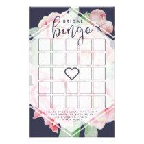 Antique Peony Bridal Shower Bingo Game Flyer