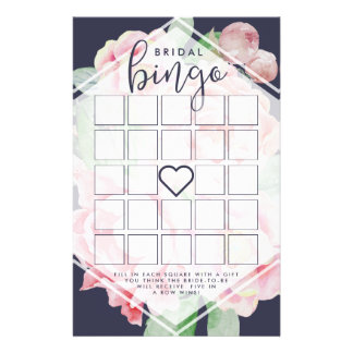 Antique Peony Bridal Shower Bingo Game Flyer
