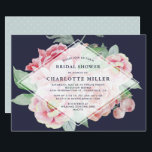 """Antique Peony Bridal Shower Invitation<br><div class=""""desc"""">Our Antique Peony bridal shower invitation is a beautiful choice for modern and trendy brides, in a chic color palette of blush pink, navy blue and sage green. Design features a background of pink and green watercolor peony flowers on midnight blue with a sheer white diamond shaped overlay bearing your...</div>"""