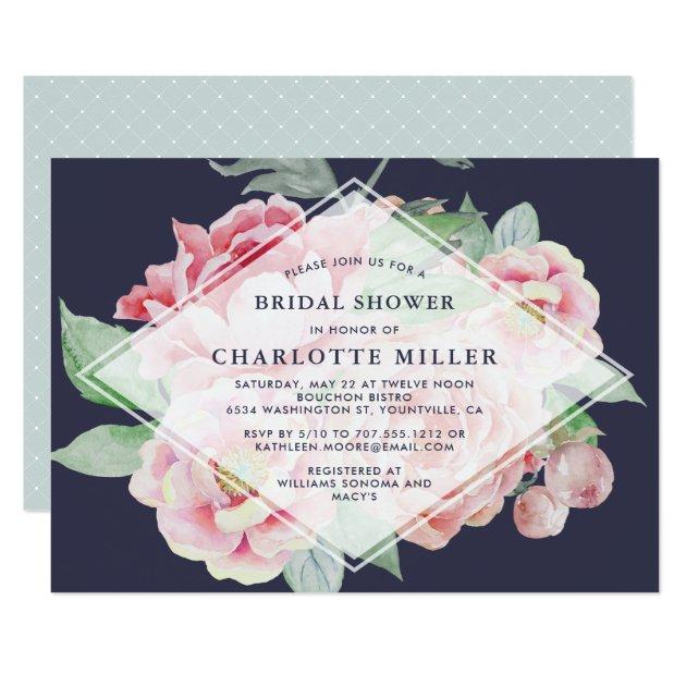 antique peony bridal shower invitation
