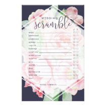 Antique Peony   Bridal Shower Word Scramble Game Flyer