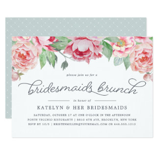 Antique Peony Bridesmaids Brunch Invitation
