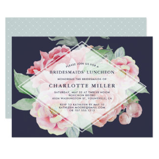 Antique Peony Bridesmaids Luncheon Invitation