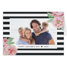 Antique Peony Charcoal Stripe | Mother's Day Photo Card