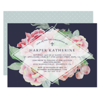 Antique Peony Christening or Baptism Invitation
