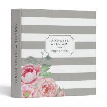 Antique Peony | Gray Stripe Personalized Binder