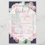 """Antique Peony How Well Do You Know the Bride Game<br><div class=""""desc"""">Designed to match our Antique Peony bridal shower collection, this midnight blue and blush pink bridal shower game card features &quot;how well do you know the bride?&quot; with a set of questions for guests to answer. Tally the number of correct answers to determine the winner. For custom questions, please contact...</div>"""