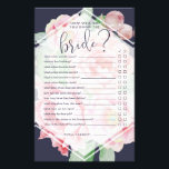 """Antique Peony How Well Do You Know the Bride Game Flyer<br><div class=""""desc"""">Designed to match our Antique Peony bridal shower collection, this midnight blue and blush pink bridal shower game card features &quot;how well do you know the bride?&quot; with a set of questions for guests to answer. Tally the number of correct answers to determine the winner. For custom questions, please contact...</div>"""