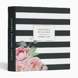 Antique Peony | Midnight Stripe Personalized Binder