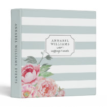 Antique Peony | Mint Stripe Personalized 3 Ring Binder