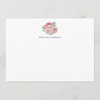 Antique Peony Personalized Stationery Card