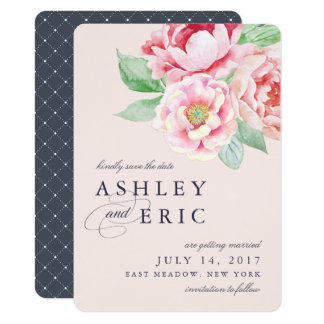 Antique Peony Save the Date Card