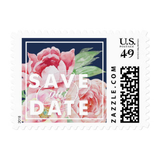 Antique Peony Save the Date Postage