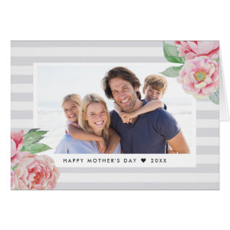 Antique Peony Stripe | Mother's Day Photo Card