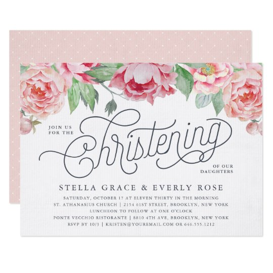 antique peony twins christening invitations zazzle com