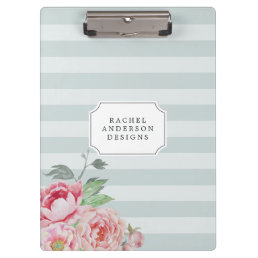 Antique Peony | Watercolor Floral Striped Clipboard
