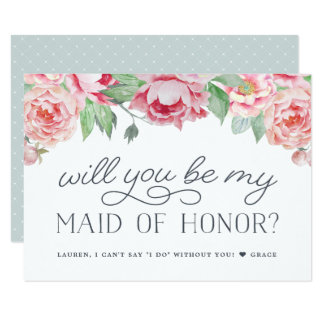 Antique Peony | Will You Be My Maid of Honor Card