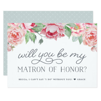 Antique Peony Will You Be My Matron of Honor Card