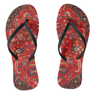 Antique Persian Mashhad Rug Flip Flops