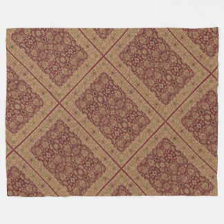 Antique Persian Rug Patches Burgundy and Gold Fleece Blanket