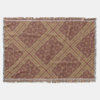 Antique Persian Rug Patches Burgundy and Gold Throw Blanket