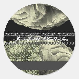 ANTIQUE PEWTER Rose Petals Wedding Stickers
