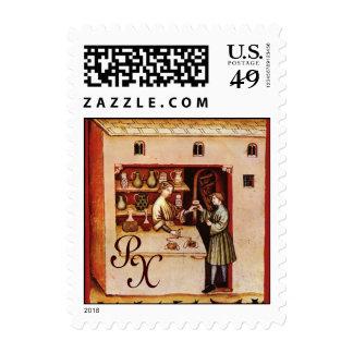 ANTIQUE PHARMACY Medicine, Drug Store,Monogram Postage