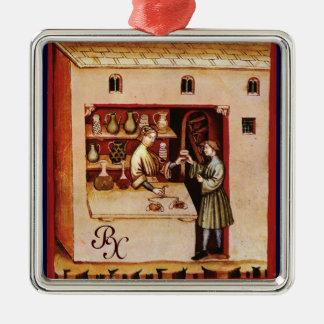 ANTIQUE PHARMACY Medicine, Drug Store,Parchment Metal Ornament