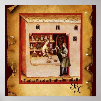 ANTIQUE PHARMACY Medicine, Drug Store,Parchment Poster