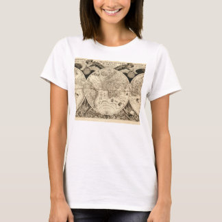 Antique Phillip Eckebrecht 1630 Map of the World T-Shirt