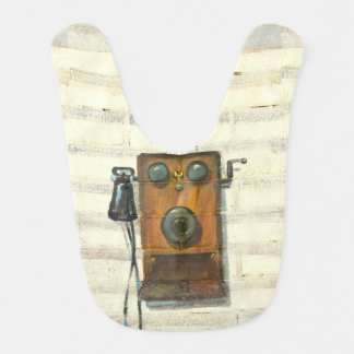 antique phone baby bib