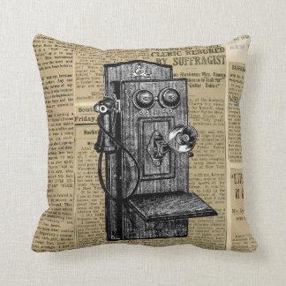 Antique Phone on Vintage Newsprint Throw Pillow