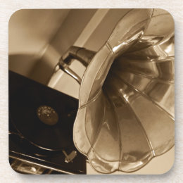 Antique Phonograph Gramophone Gifts Music Lovers Beverage Coaster