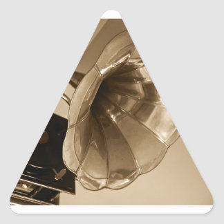 Antique Phonograph Gramophone Gifts Music Lovers Triangle Sticker